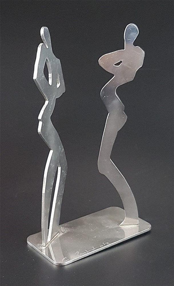 Buchholz, Gisela (zeitgenössische Künstlerin aus Dresden) - Zwei flache Figuren-Silhouetten aus Stahl,Front-und Profilansicht,signiert und nummeriert 21/50, H.ca.22cm, Sockelplatte ca.7x13,5cm