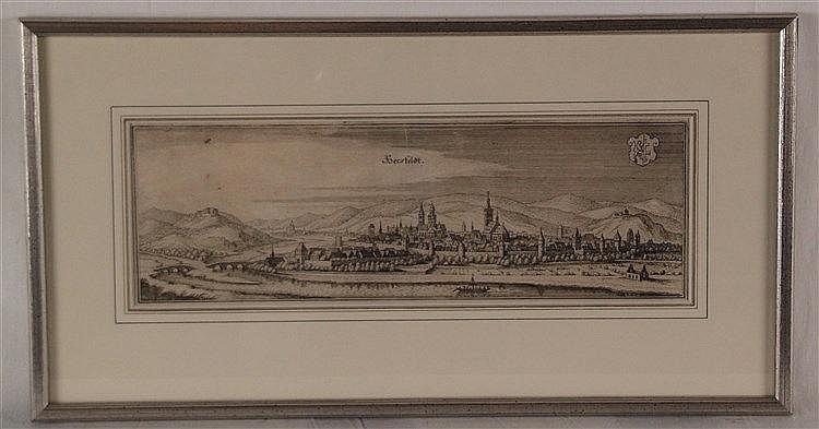 Merian, Matthäus - Hersfeldt,Gesamtansicht, Kupferstich aus der Topographia Hassiae ca.12x35cm,17.Jh.,Mittelfalz,in PP unter Glas gerahmt