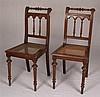 Zwei Stühle -  Holz, Lehne und Vorderbeine gedrechselt, Flechtsitz, ca.95x43x42cm