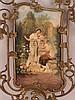 Metallrahmen -  Holz, aufwendig dekorierter Rand,innen romantische Szene mit zwei lieblichen Damen am Brunnen,Maß ca.19x11cm, außen ca.40x20cm