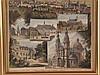 Souvenierblatt Fulda - 8 Ansichten: Michaeliskirche, Sonnenkirche, Frauenberg, Landgräfliches Schloss, Friedrichststrasse, ''Orangerie'', Totalansicht vom Frauenberg aus,Lithographie,ca.33x24,5cm,unter Glas gerahmt