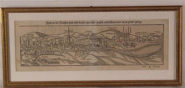 Fulda - Gesamtansicht,aus der deutschen Ausgabe der ''Cosmographey oder beschreibung aller Länder'' von Sebastian Münster,wohl 16.Jh.,ca.13,5x39cm, tlw. stockfleckig
