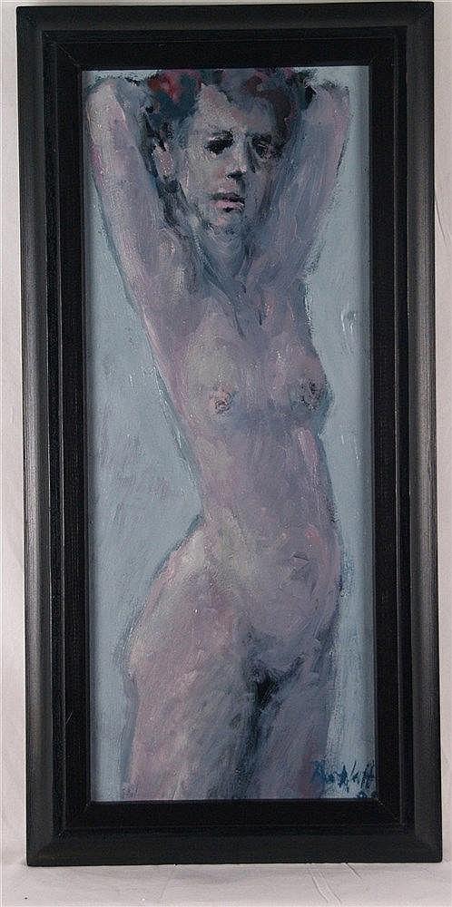 Ratzlaff, Siegfried (1934 Vangerow - tätig in Leipzig) - Stehender weiblicher Akt, signiert, datiert 1998?, ca.73x36cm, Öl auf Holz, gerahmt