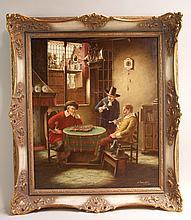 Purschke, Walther (geb. 1924) - Historisierendes Stubeninterieur mit Herrengesellschaft beim Schachspiel, Öl auf Leinwand, rechts unten signiert und bezeichnet München,ca.60 x 50cm,Goldrahmung