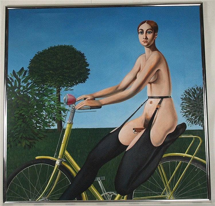 Plotin,Henri (*1939 Berlin)- ''La cycliste insolante'',Öl auf Leinwand,1973,Radreifen mit Künstlernamenszug und Datierung,ca.126x127cm,Atelierrahmung, Leinwand mit Rahmenabdruck oben links - Pseudonym für Gert Neuhaus,zwischen 1956 und 1962