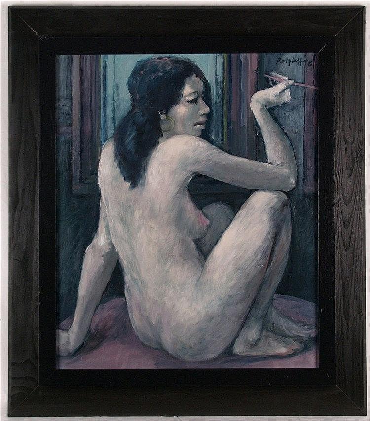 Ratzlaff, Siegfried (1934 Vangerow - tätig in Leipzig) - Sitzender weiblicher Akt, signiert, datiert 1998, ca.76x67cm, Öl auf Holz, gerahmt