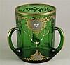 Glasvase - Böhmen, grünes Glas, zylindrische Form mit 3 Henkeln, prunkvoller Rokoko-Dekor mit üppiger Gold-und Silberverzierung, minimal berieben, H.ca.14,5cm