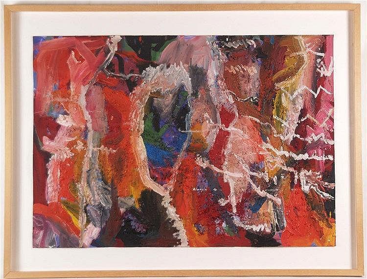 Hoffman,Eric - ''The Hall of the Unknown Function'', 1984, Mischtechnik/Emaille auf Arches-Papier, ca.116,8x88,9cm,verso Kunstgalerie-Aufkleber, unter Glas gerahmt
