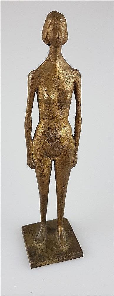 Figur - Weiblicher Akt stehend, wohl Willi Schmidt ? (1924-2011, Bildhauer und langjähriger Dozent an der Städelschule in Frankfurt a.M.), Metall, H.ca.22,5cm,