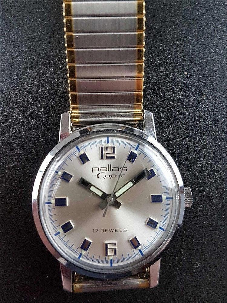 Herrenarmbanduhr - Pallas Eppo, Handaufzug, Edelstahl, 17 Jewels, Metall-Zugarmband in Silber/Gold, D: ca. 32 mm