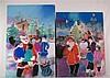 Zule - zeitgenössischer franz. Künstler - Weihnachtliche Szenen, Pastellkreide, signiert,ca.109x80cm und 120x80cm