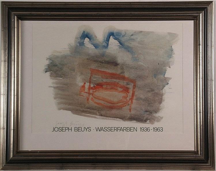 Beuys, Joseph (1921-1986) - ''Wasserfarben 1936-1963'', signiertes Ausstellungsplakat, ca. 51 x 68 cm, unter Glas gerahmt