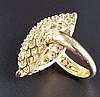 Diamantring - Gelbgold gestempelt 750,navetteförmiger gestufter Ringkopf sowie Schiene ausgefasst mit 69 Diamanten in Brillant-(41St./Einzelsteine von unterschiedlicher Größe bis ca.0,2ct./zus.ca.3,4ct.) bzw.