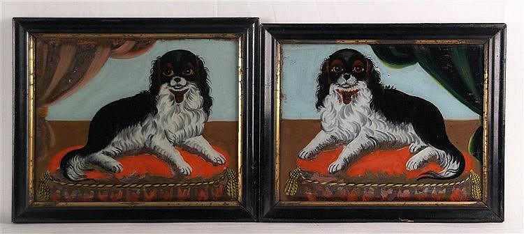 Zwei Glasbilder - England,Motive: Cavalier King Charles Spaniel auf Kissen liegend, gerahmt, ca.21x26cm, Gebrauchsspuren
