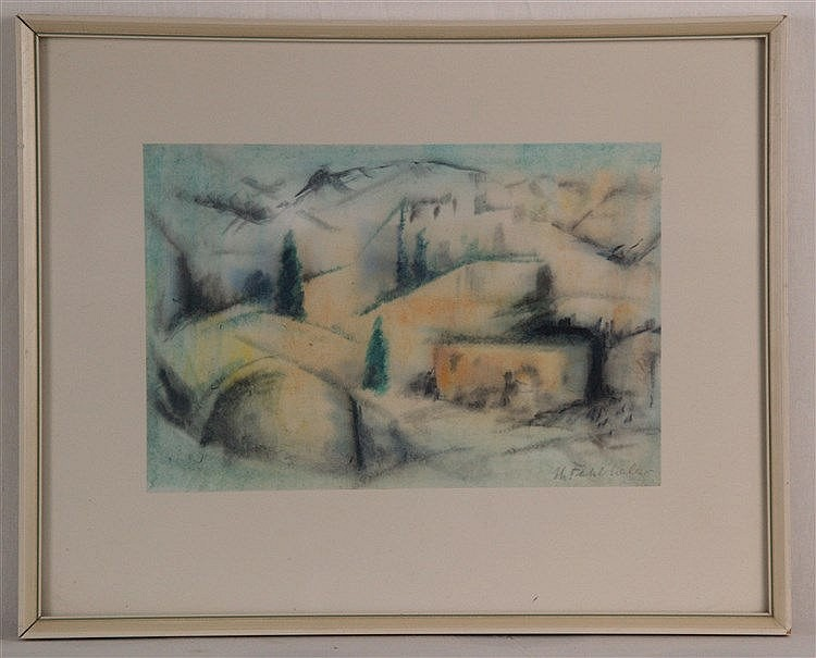 Fehlhaber,Hans (1881-1974) - Berglandschaft,Aquarell auf Papier, ca.18x26cm7,in Blei signiert,unter Glas gerahmt