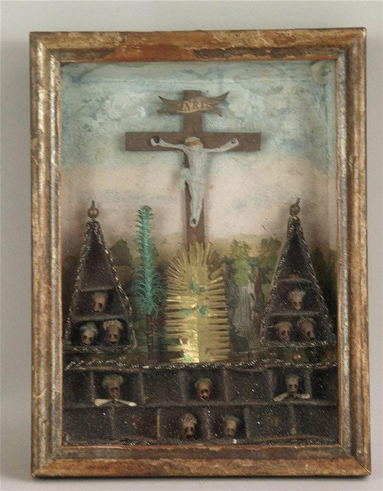 Kastenbild ''Kalvarienberg'' - Klosterarbeit, plastische Darstellung,diverse Materialien um 1800, ca.20x15,5cm,unter Glas