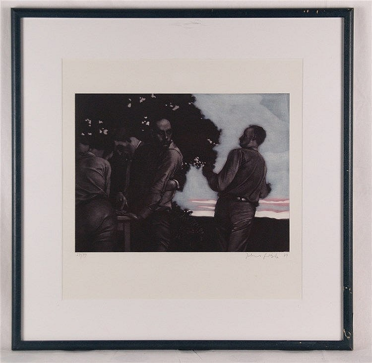Grützke, Johannes (*1937 Berlin,ansässig und tätig in Berlin)- Farbaquatinta-Radierung aus dem Mappenwerk ''Basler Spiele'', 1974, num. 27/99, handsigniert,ca. 30 x 40 cm, unter Glas gerahmt
