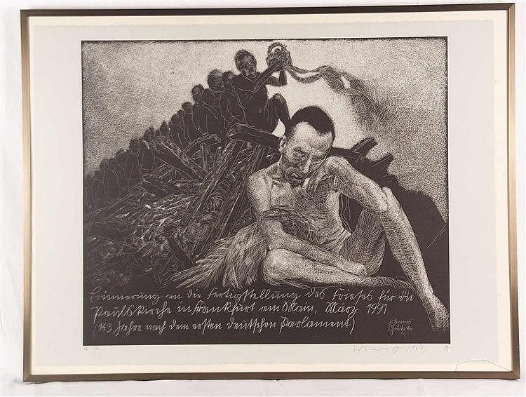 Grützke, Johannes (*1937 Berlin,ansässig und tätig in Berlin)- ''Erinnerung an die Fertigstellung des Frieses für die Paulskirche in Frankfurt am Main, März 1991'', 1991, Lithographie, handsigniert, num. 96/200,ca.56 x 76 cm, unter Glas
