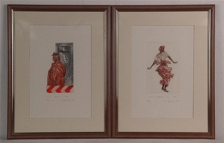 George, Brigitte - 2 Blätter:''Karibik II'', 1986, Farbradierung, num. 8/77, handsigniert,ca.37x24 cm, gerahmt ca.40 x30 cm/''Peru'', 1986, Farbradierung, num 8/77, handsigniert,ca.37x24cm, gerahmt ca.40x30cm
