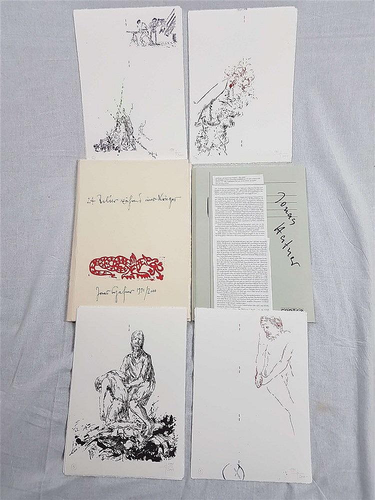 Hafner, Jonas - ''24 Bilder während eines Krieges'', Lithografien, handsigniert, datiert 1991-2000,im sign. Umschlag,ca.29,5 x 21cm