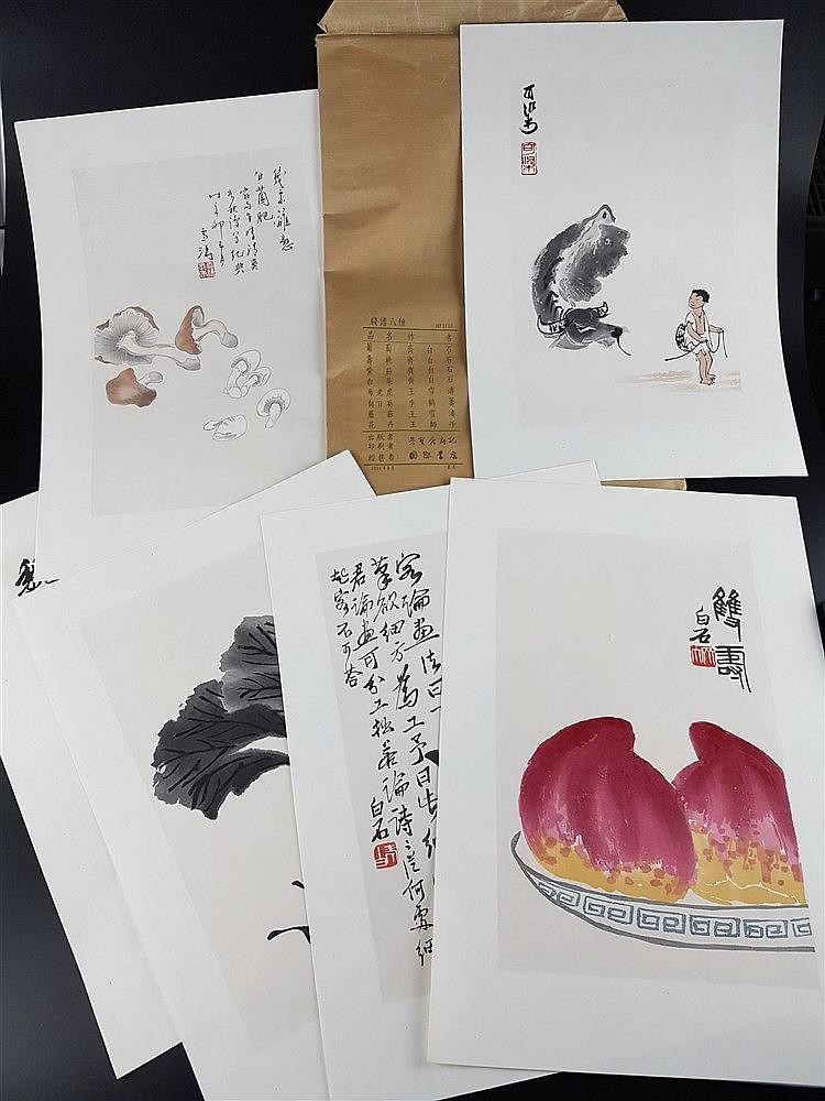 16 Farbholzschnitte nach Aquarellen - Qi Baishi (1864-1957,4 Arbeiten), Wang Xuetao (1903-1982),Wang Shizi (1885-1950), Li Keran (1907 - 1989),Blattgröße ca.35,5x24,5/36,6x26cm,in Orig.Papiertüte mit Beschriftung,Angabe der Künstler und
