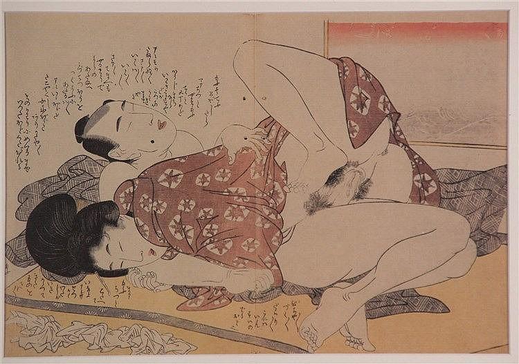 Kitagawa, Utamaro - ''Erotik Nr. 4'', aus ''Kopfkissenbuch'', Farboffset, ca.22 x 31 cm, mehrfach in PP gerahmt