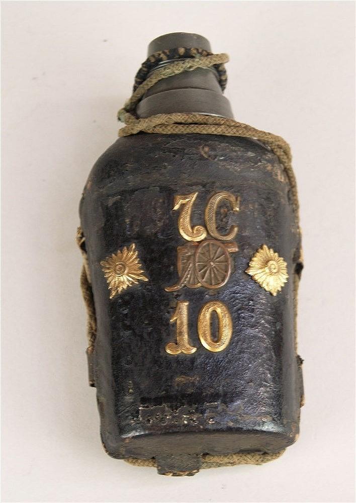 Flachmann Schnapsflasche - Reservisten Feldflasche, Glasflasche mit Leder ummantelt,Alters- und Gebrauchsspuren