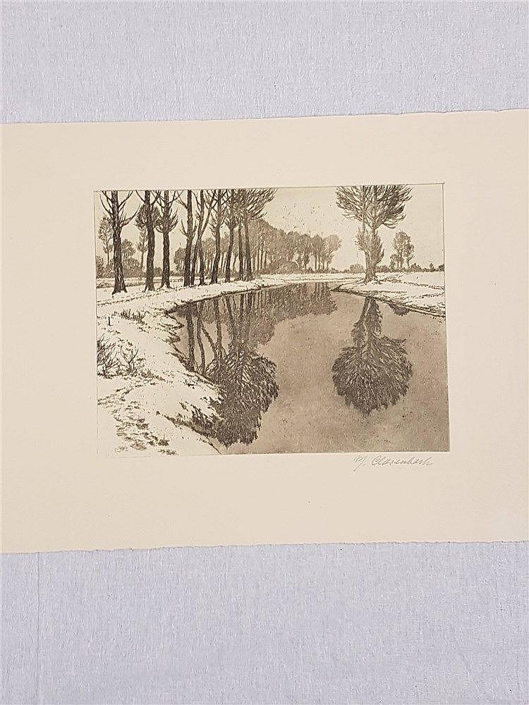 Clarenbach,Max (1880 - 1952 Düsseldorf) - Wintertag an der Erft, Radierung, unten von Hand signiert ''M.Clarenbach'',Plattenmaß ca.23,5x29,5cm,Blatt liegt lose