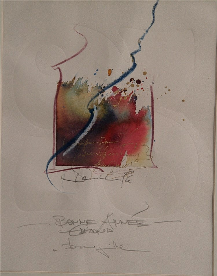 Dembinski,Edmond (*1951)- ''Bonne Année'',Aquarell,signiert,ca.27,5x21,5cm, in PP unter Glas gerahmt