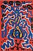 Penck, A.R. - ''Abstract Woman'', Serigraphie,Probe,sehr kleine Auflage: 30 Blatt, handsigniert,ca.85x56cm, unter Glas gerahmt ca.100x70cm, Alu Altsilber