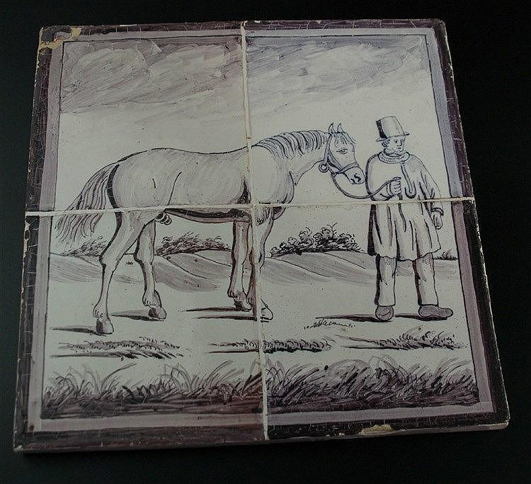Museales Kachelbild - Bauer mit Pferd in Landschaft, Delft um 1700, Fayence, bestehend aus 4 Kacheln mit manganroter Malerei, 26 x 25cm altersgemäßer Zustand mit Bestossungen