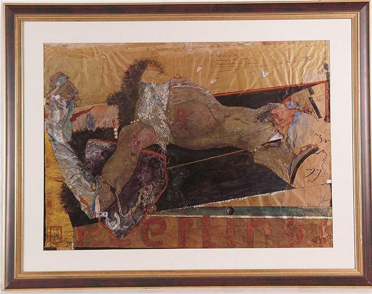Janssen, Horst - ''Die Liegende'', Farboffset, handsigniert, ca. 54 x 74 cm, unter Glas gerahmt