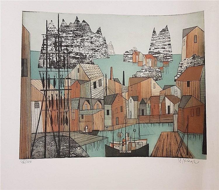 Kügler, Rudolf (1921 Berlin-2013 Berlin-Frohnau) ''Fischerdorf in den Lofoten''. Farbradierung/Papier. 39,5 x 49,5 cm. R.u. sign.: R. Kügler. L.u. num.: 58/200,ungerahmt.