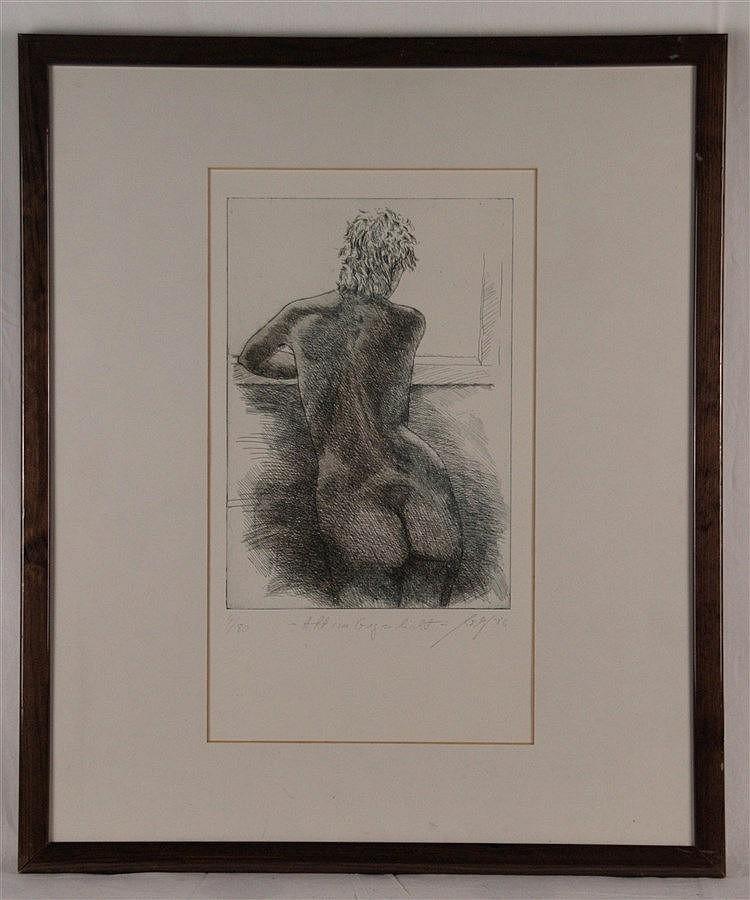 Möller, Hannes - ''Akt im Gegenlicht'', 1986, Farbradierung, num. 4/80, handsigniert, unter Glas gerahmt,ca.60x50cm