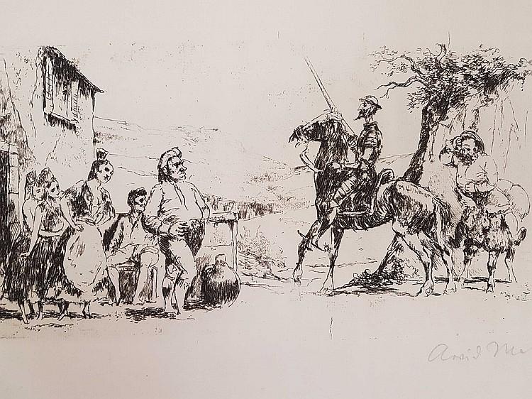 Mather, Arvid (1905 Barneb - 1950 Düsseldorf) - Ankunft von Don Quijote und Sancho Panza,Radierung auf Van Gelder Zonen, Plattenrand: ca.16 x 31 cm (Blatt ca.32 x 50,5 cm),in Blei signiert,lt. knitterig,Blatt liegt lose