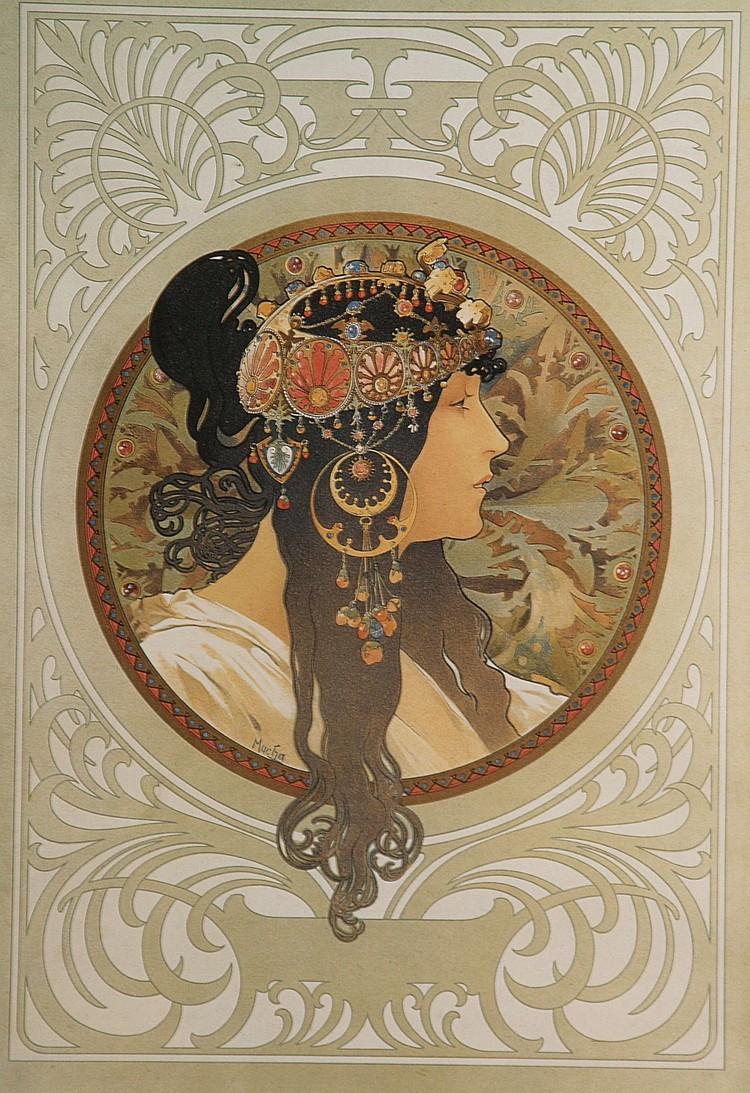 Mucha,Alfons (1860-1939)- ''Brunette'', Farboffset, ca. 49 x 34 cm, unter Glas gerahmt