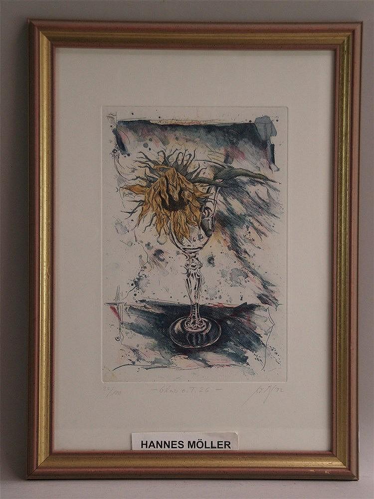 Möller, Hannes - ''Glas o.T.26'', Farbradierung, num.22/100, signiert, 1992 datiert,ca.49x34cm,unter Glas gerahmt
