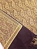 Goldstickerei - Stickerei auf schwarzem Tuch,flächendeckend Paisley-Motive,Fransenborte, lt. Gebrauchsspuren