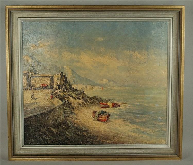 Bogo..,H. - Mediterrane Uferlandschaft,Öl auf Leinwand,links unten unleserlich signiert,ca.60x70cm,Rahmung