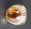 Citrinring - Gelbgold gestempelt 585,Ringkopf mit zentralem facettierten Citrin im Ovalschliff,Dm.ca.16,5mm,Gew.ca.6,6g
