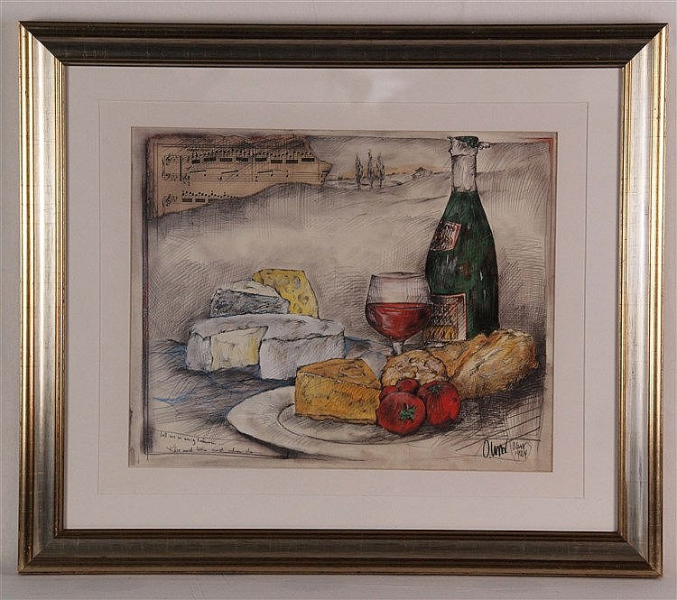 West, Ole - ''Laß uns ein wenig träumen'', Farboffset, signiert, ca. 35 x 43 cm, unter Glas gerahmt