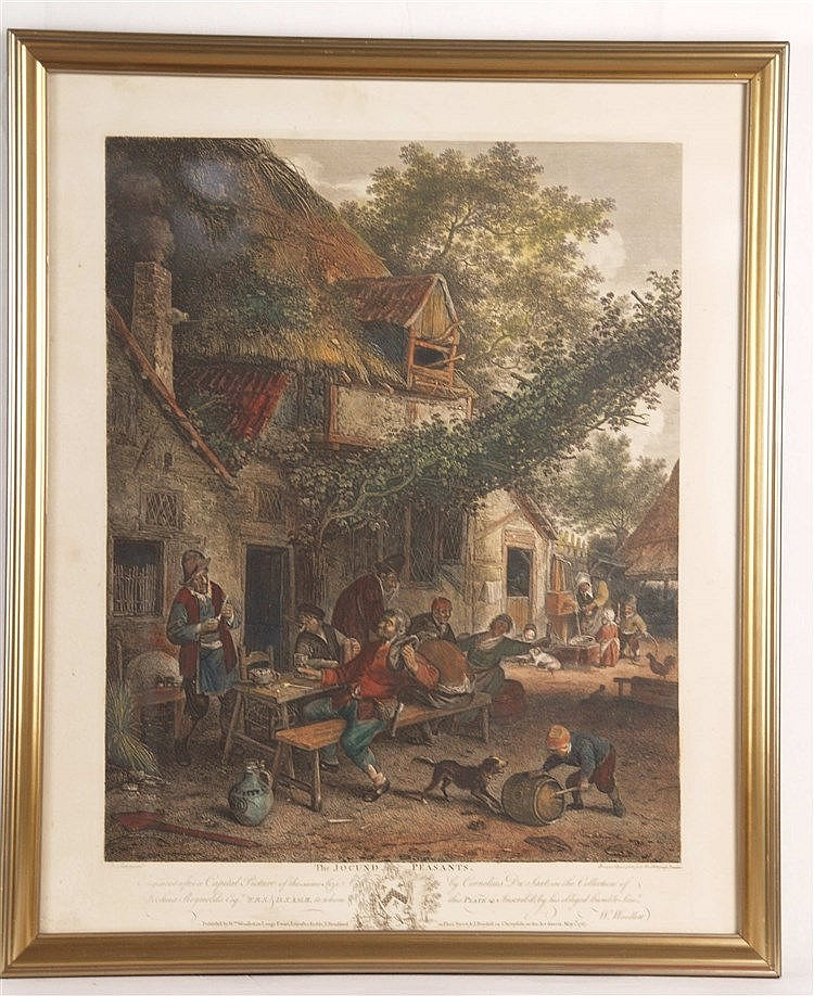 Woollett, William (1735 Maidstone - 1785 London) - ''The Jocund Peasants'', Kupferstich nach dem Gemälde von Cornelius Dusart (1660 - 1704),color.,in der Platte bez., betit. u. dat. 1767,Blatt ca.51,5 x 42cm,unter Glas gerahmt,lt.Altersspuren