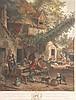 Woollett, William (1735 Maidstone - 1785 London) - ''The Jocund Peasants'', Kupferstich nach dem Gemälde von Cornelius Dusart (1660 - 1704),color.,in der Platte bez., betit. u. dat. 1767,Blatt ca.51,5 x 42cm,unter Glas gerahmt,lt.Altersspuren