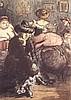 Zille,Heinrich - ''Garderobe i.e. Vorstadtvarieté'', Farboffset,datiert 1904, ca.36x25cm, unter Glas gerahmt