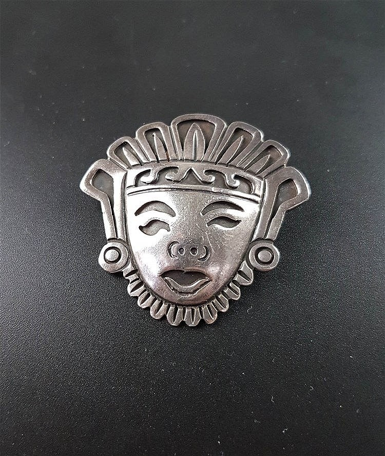 Anhänger/Nadel - ''Maske'',Silber gestempelt ''Taxco 925 Mexiko'', im Etui, ca.4,5x4,5cm, ca.16g
