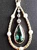 Anhänger - 585er Gelbgold,Tropfenform, mit Lorbeerblatt-Zisellierung und 6 kleinen Perlen,Abhängung mit facettiertem Turmalin und 3 kleinen Diamanten,antik,L(mit Öse) ca.3cm,ca.3,kg