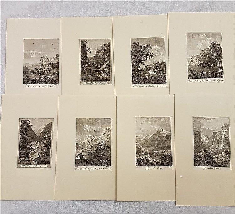 Konvolut Diverse schweizerische Stadt- und Landschaftsansichten - 8-tlg,Kupferstich/Papier. Unterschiedliche Größen. rechts unten ''Darnstedt sc.''und  links unten ''Zingg. del.'',guter Zustand