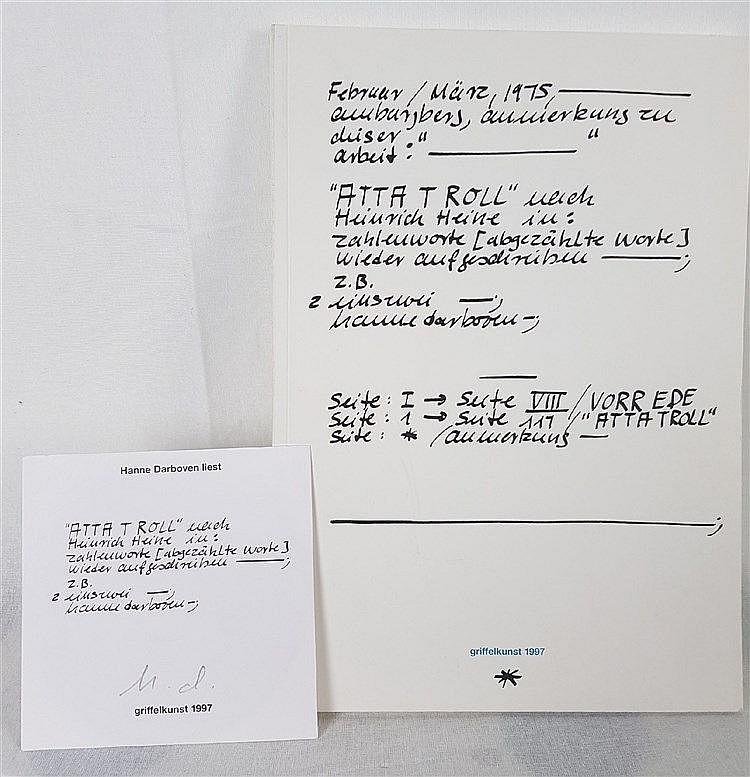 Darboven, Hanne - ''Atta Troll'' nach Heinrich Heine, Kunstmus. Luzern, Edition Griffelkunst,monogrammiert, ca.30x21cm