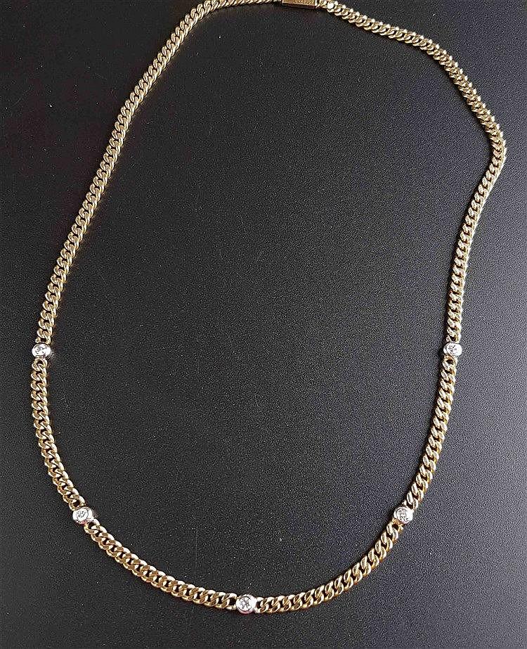 Halskette - Gelbgold gestempelt 585,mit 4 kleinen Brillanten (zus.ca.0,2ct.),L.ca.42,5cm,ca.17g
