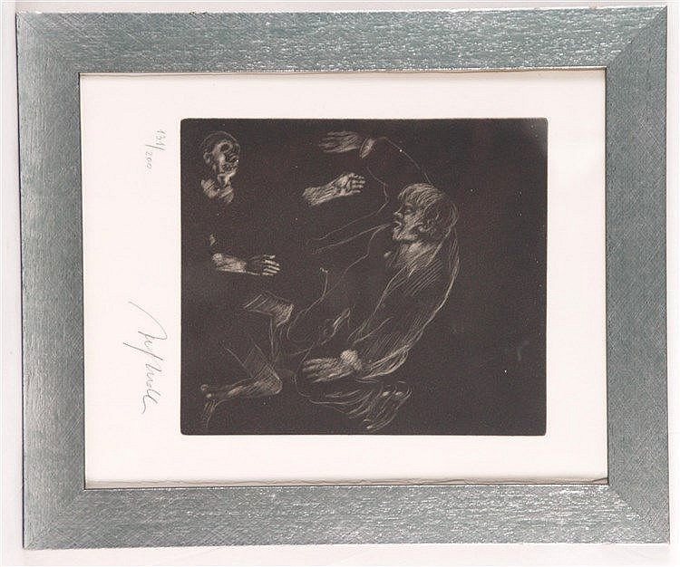 Hrdlicka, Alfred (1928 -Wien- 2009) - Radierung, num.131/200,handsigniert, ca.35x28cm, unter Glas gerahmt